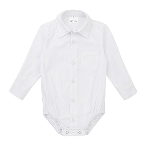 388d20f45 Bodysuits – FEESHOW Infant/Toddler Baby Boys Callor Long Sleeve Formal  Dress Shirt Bodysuit Romper Wedding Party Outfit with Bow-tie White 18  Months