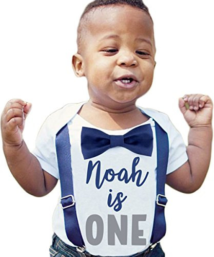 c79e5f1f Bodysuits – Noah's Boytique Personalized Name First Birthday Outfit Boy  Gray and Navy Bow Tie Suspenders and Number One Cake Smash Outfit 1st  12-18/18 ...