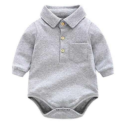 205a07e9c Bodysuits – Y·J Back home Grey Bodysuit,Baby Boys Onesie Long Sleeve One  Piece Polo Shirt Cotton Infant Bodysuit Newborn Solid Clothing Toddler  Organic ...